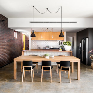 Inspiration For A Mid Sized Industrial Concrete Floor And Gray Kitchen Dining Room