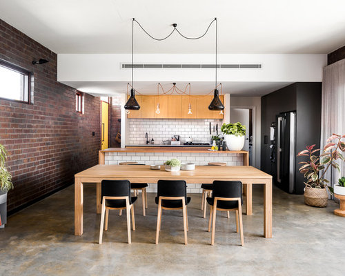 Mid Sized Industrial Kitchen/dining Combo In Perth With Concrete Floors,  Multi
