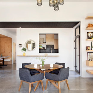 Inspiration for a large scandinavian concrete floor and gray floor great room remodel in Other with white walls and no fireplace