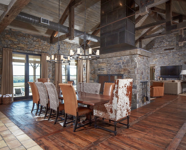 Rustic Dining Room by Thompson Custom Homes