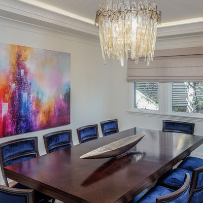 Inspiration for a mediterranean light wood floor dining room remodel in San Francisco with white walls and no fireplace