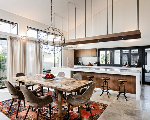 Example Of A Large Trendy Travertine Floor Kitchen/dining Room Combo Design  In Perth