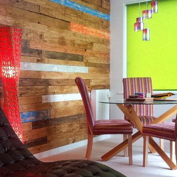 Reclaimed Colourful Pallets and Floorboards Wall