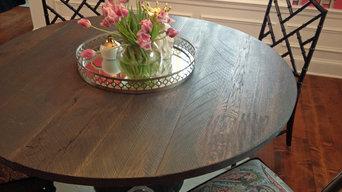 Reclaimed oak plank dining table