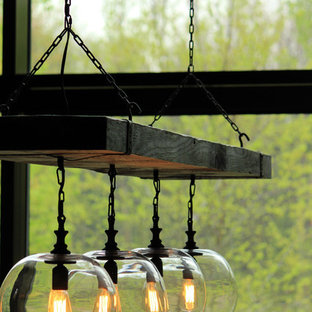 Reclaimed Wood Beam Chandelier with Globes