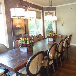 "Reclaimed Wood Dining Room Tables - Custom 13ft x 42"" x 30""h reclaimed dining room table with pedestal bases."