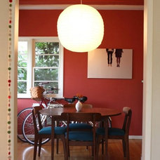 Eclectic Dining Room red dining room