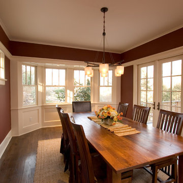 Red Dining Room with White Trim, Bay Window and French doors,  Maplewood, NJ