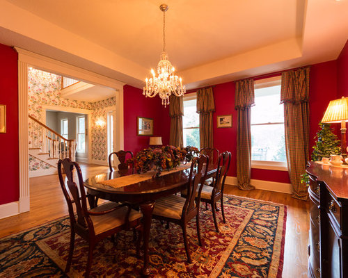 Traditional open plan dining design ideas renovations for Traditional red dining room