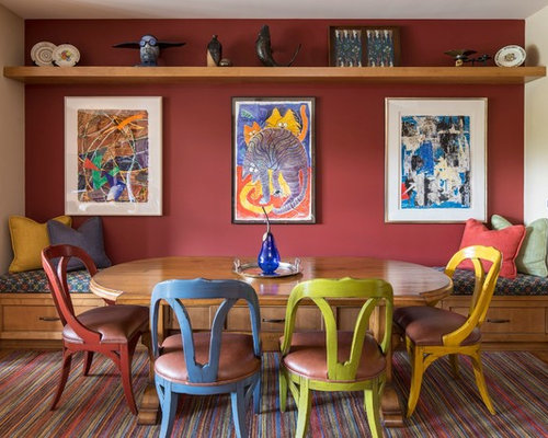 Captivating Example Of An Eclectic Dining Room Design In Minneapolis With Red Walls,  Medium Tone Hardwood Photo Gallery