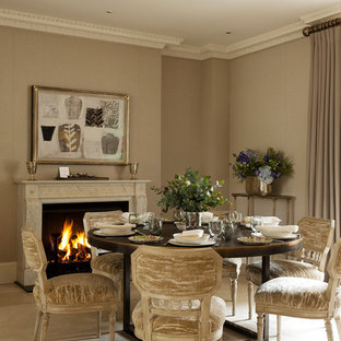 Elegant Dining Room Photo In London With Beige Walls And A Standard Fireplace