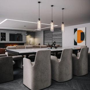 Foto di una grande sala da pranzo aperta verso il soggiorno minimal con pareti grigie, camino lineare Ribbon, cornice del camino piastrellata e pavimento grigio