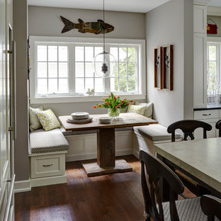 Example of a large cottage dark wood floor and brown floor great room design in Chicago with gray walls