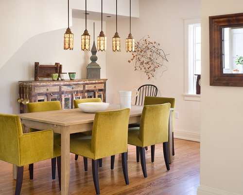 Inspiration For A Contemporary Dining Room Remodel In Kansas City With White Walls