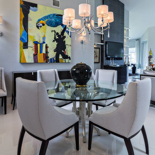 Example of a trendy great room design in Miami with gray walls