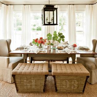 Dining room - farmhouse medium tone wood floor dining room idea in Atlanta with white walls