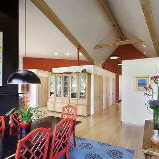 デンバーのコンテンポラリースタイルのおしゃれなダイニング (赤い壁、淡色無垢フローリング、両方向型暖炉) の写真