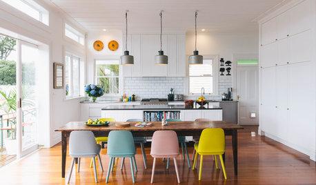 Stylische Idee: Farbige Esszimmerstühle, gekonnt kombiniert