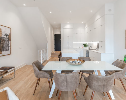 Contemporary Medium Tone Wood Floor And Brown Floor Great Room Idea In DC  Metro With White
