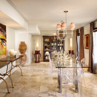 Trendy dining room photo in Austin with white walls