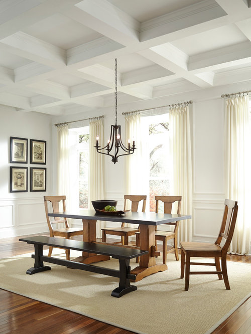 Large Farmhouse Dining Room Idea In Miami With White Walls And Dark Hardwood Floors