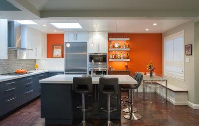 Orange, Blue and White Deliver a Retro-Cool Kitchen