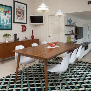 Idee per una sala da pranzo aperta verso la cucina minimalista di medie dimensioni con pareti bianche, pavimento in gres porcellanato e nessun camino