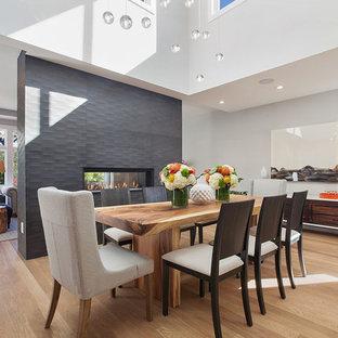 Ispirazione per una grande sala da pranzo aperta verso il soggiorno design con pareti bianche, parquet chiaro, camino bifacciale e cornice del camino in cemento
