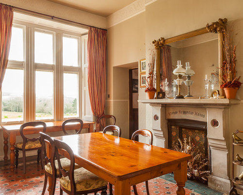 Traditional dining room design ideas renovations photos for Traditional dining room fireplace