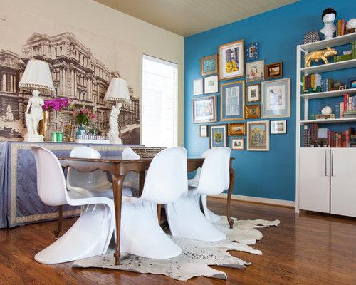 Eclectic Dark Wood Floor Dining Room Idea In Houston