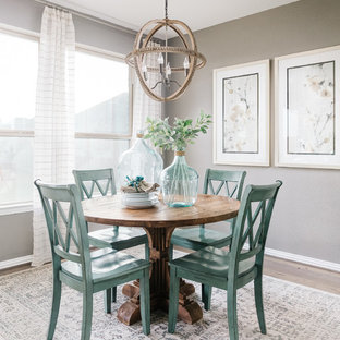 Dining room - small beach style light wood floor dining room idea in Houston with gray walls and no fireplace
