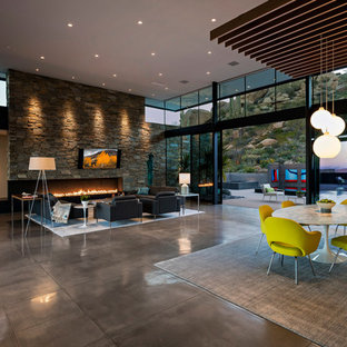 Great room - large modern concrete floor and gray floor great room idea in Phoenix with multicolored walls, a ribbon fireplace and a stone fireplace