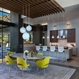 Foto di un'ampia sala da pranzo aperta verso il soggiorno design con pareti multicolore, pavimento in cemento e pavimento grigio