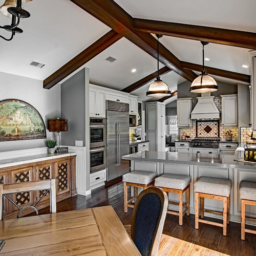 Kitchen/dining Room Combo   Traditional Medium Tone Wood Floor And Brown  Floor Kitchen/