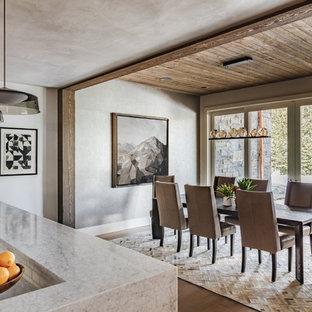 Diseño de comedor rural con paredes grises, suelo marrón y suelo de madera en tonos medios