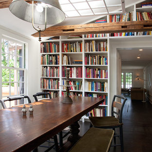 Dining room - cottage dark wood floor dining room idea in Philadelphia with white walls