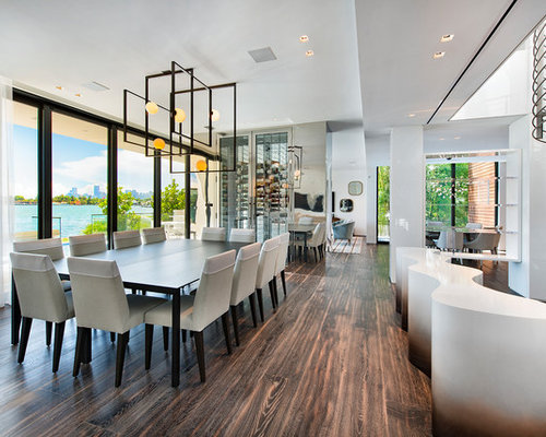 Contemporary Dark Wood Floor And Brown Great Room Idea In Miami