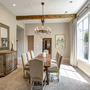 Dining room - rustic dining room idea in Houston with gray walls