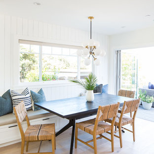 Inspiration for a coastal light wood floor and beige floor kitchen/dining room combo remodel in Orange County with white walls
