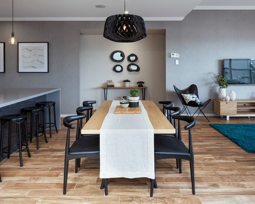 Contemporary Open Plan Dining In Brisbane With Grey Walls And Light  Hardwood Floors. Part 79