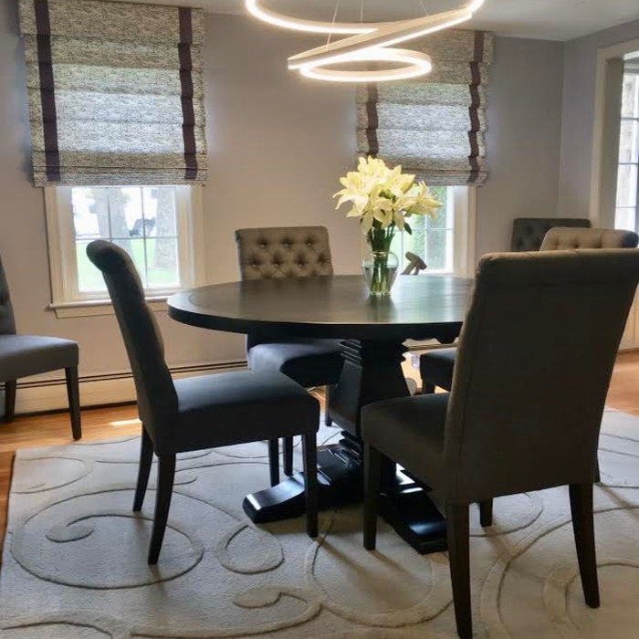 Roman Shades Complete Contemporary Dining Room