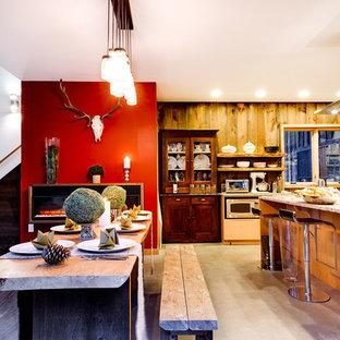バーリントンの中くらいのラスティックスタイルのおしゃれなダイニングキッチン (赤い壁、コンクリートの床、吊り下げ式暖炉、グレーの床) の写真