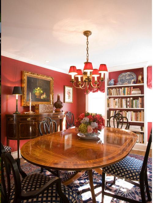 Sala da pranzo aperta verso il soggiorno con pareti rosse - Foto, Idee, Arred...