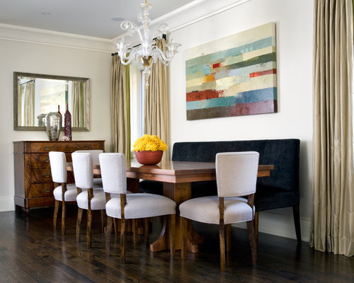 Example Of A Trendy Dark Wood Floor Dining Room Design In Toronto With  White Walls Part 36