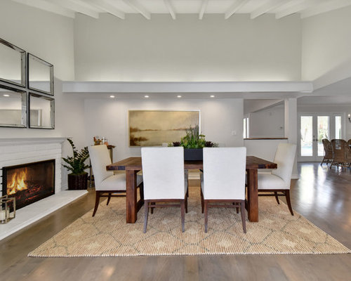 Transitional Medium Tone Wood Floor And Gray Great Room Photo In Orange County With White