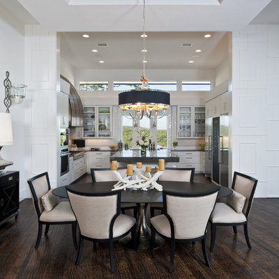 Kitchen/dining room combo - transitional brown floor kitchen/dining room combo idea in Austin