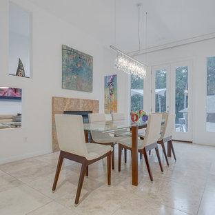 Foto di una sala da pranzo contemporanea chiusa con pareti bianche, pavimento con piastrelle in ceramica, camino bifacciale e cornice del camino in pietra