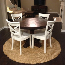 Round rustic pedestal table dark finish homemade round rustic