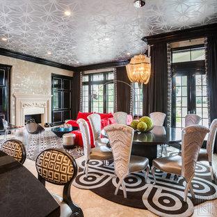 Immagine di una grande sala da pranzo aperta verso il soggiorno minimalista con pareti con effetto metallico, pavimento con piastrelle in ceramica, camino classico e cornice del camino in pietra