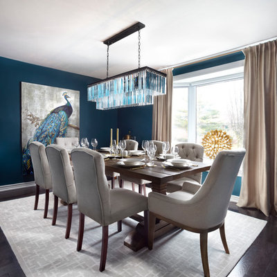 Mid-sized transitional dark wood floor and brown floor great room photo in Toronto with blue walls and no fireplace